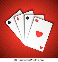 vektor, spille cards, på, rød baggrund