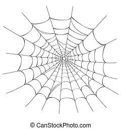 vektor, spinne gewebe, weiß