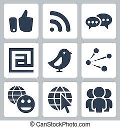 vektor, společenský, síť, ikona, dát