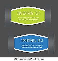vektor, stadig, etiketter, för, annonsering, text