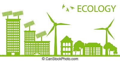 vektor, stadt, begriff, eco, ökologie, grüner hintergrund
