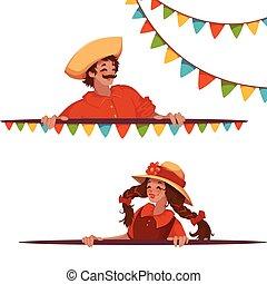 vektor, standarta, s, děvče, a, sluha, v, brazilec, festa,...