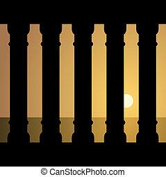 vektor, starobylý, západ slunce