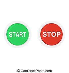 vektor, start, buttons., clona, ilustrace