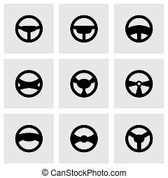 vektor, steering tol, ikon, állhatatos