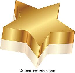 vektor, stern, abbildung, gold, 3d