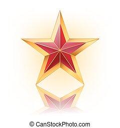 vektor, stern, abbildung, gold, rotes