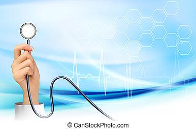 vektor, stethoscope., birtok, háttér, kéz