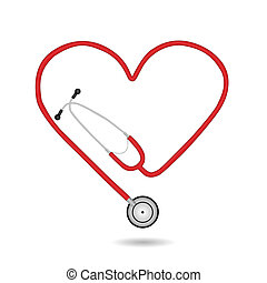 vektor, stetoskop, illustration