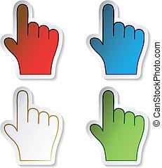 vektor, stickers, hånd