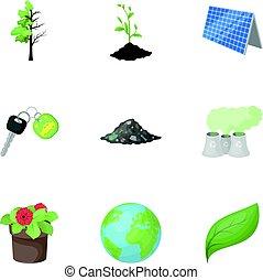 vektor, stil, ökologie, illustration., kampf, wege, symbol, ökologie, probleme, sammlung, ravages.bio, satz, ikone, karikatur, erde, bestand