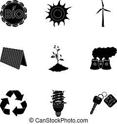 vektor, stil, ökologie, illustration., kampf, wege, symbol, ökologie, probleme, sammlung, ravages.bio, satz, schwarz, ikone, erde, bestand