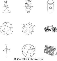 vektor, stil, ökologie, illustration., kampf, wege, symbol, grobdarstellung, probleme, ökologie, sammlung, ravages.bio, satz, bestand, erde, ikone