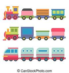 vektor, stil, leksak, set., tåg, järnväg, tecknad film