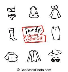 vektor, stil, mode, ikonen, klotter, set., kollektion, hand, objekt, oavgjord, kläder, kvinnor