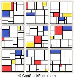 vektor, stil, satz, mondrian, stijl, de, quadrat, neun, piet, compositions