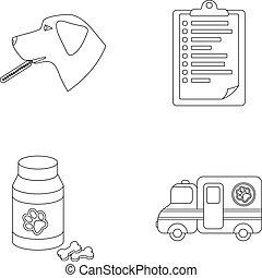 vektor, stil, veterinär, sätta, sjukhus, block, termometer, klinik, kollektion, .vet, skissera, hund, symbol, ikonen, illustration
