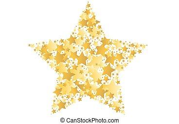 vektor, stjärna, guld, illustration