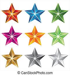 vektor, stjerne, ikon