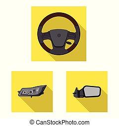 vektor, stock., autó, cél, elszigetelt, gyűjtés, rész, autó, logo., ikon