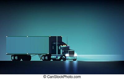 vektor, stort, klassisk, illustration, billyktor, halv-, bakgrund, natt, lastbil, torka, ridande, skåpbil, stor oljerigg