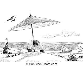vektor, strand, bakgrund
