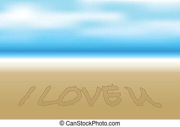 vektor, strand, illustration