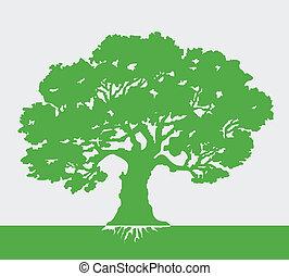 vektor, strom, ilustrace