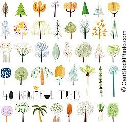 vektor, strom, ilustrace, vybírání