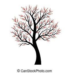 vektor, strom, s, barvitý, list