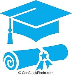 vektor, studienabschluss, hoch, ikone, schule