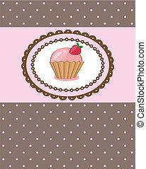 vektor, stykke, kage, illustration, cupcake