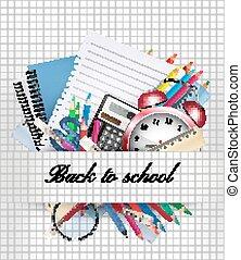 vektor, supplies., school., hintergrund, zurück