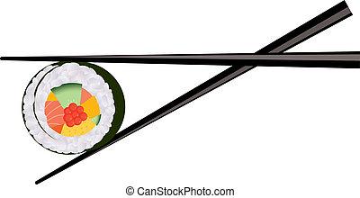 vektor, sushi, kínai evőpálcikák