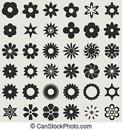 vektor, svart, abstrakt, vit, knopp, set., blomma, formar