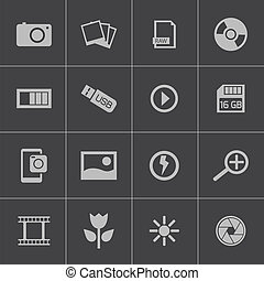 vektor, svart, foto, sätta, ikonen