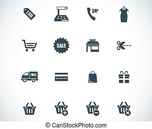 vektor, svart, sätta, inköp, ikonen