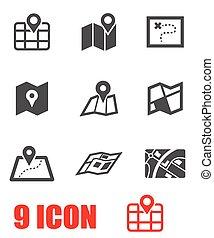 vektor, svart, sätta, karta, ikon