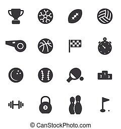 vektor, svart, sport, sätta, ikonen