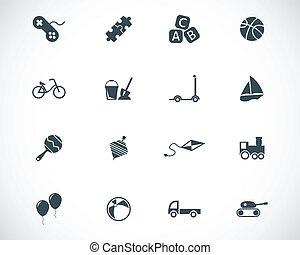 vektor, svart, toys, ikonen, sätta