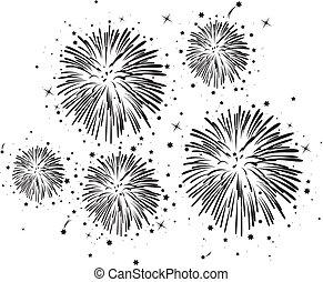 vektor, svartvitt, fireworks, bakgrund, med, stjärnor