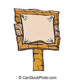 vektor, svobodný, karikatura, dřevěný, signpos., osamocený, oproti neposkvrněný