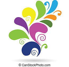 vektor, swirly, floral tervezés, színes, elem