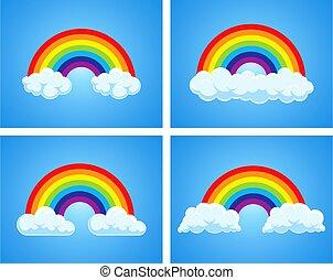 vektor, symbol, wolkenhimmel, blaues, regenbogen, himmelsgewölbe
