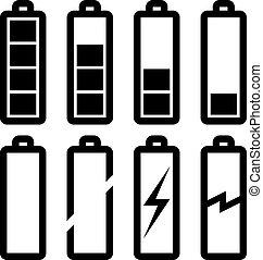 vektor, symboler, i, batteri, niveau