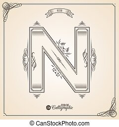 vektor, symbols., brief, bescheinigung, glyph., rahmen, symbol., sammlung, calligraphic, geschrieben, elemente, design, retro, fotn, einladung, n, feder, hand, decor., umrandungen