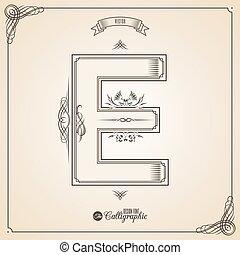 vektor, symbols., e, brief, bescheinigung, glyph., rahmen, symbol., sammlung, calligraphic, geschrieben, elemente, design, retro, fotn, einladung, feder, hand, decor., umrandungen