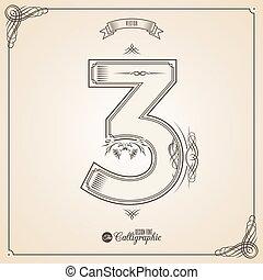 vektor, symbols., határ, igazolás, írott, glyph., keret, szám, gyűjtés, calligraphic, 3, alapismeretek, tervezés, retro, fotn, meghívás, tollazat, kéz, decor., jelkép.