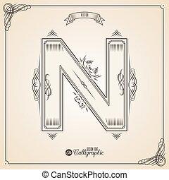 vektor, symbols., levél, igazolás, glyph., keret, jelkép., gyűjtés, calligraphic, írott, alapismeretek, tervezés, retro, fotn, meghívás, észak, tollazat, kéz, decor., határ