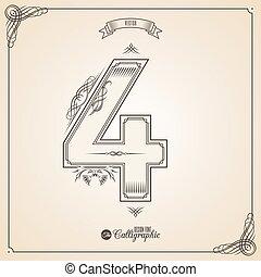 vektor, symbols., umrandungen, bescheinigung, glyph., rahmen, zahl, sammlung, calligraphic, geschrieben, elemente, design, retro, fotn, einladung, feder, hand, decor., symbol., 4